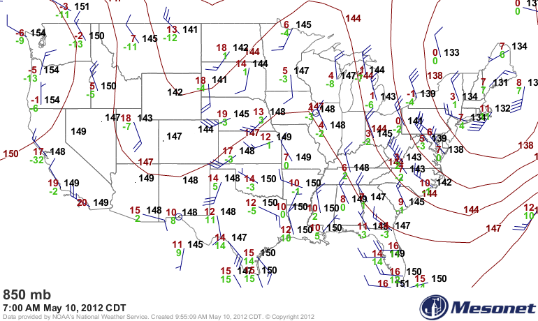 Winds at 5000 ft. (850 mb)